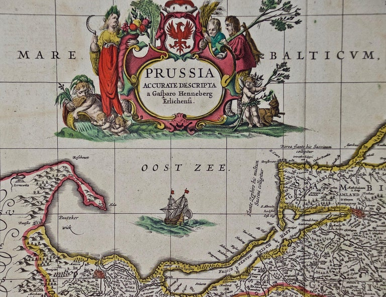 Paper Hand Colored 17th Century Janssonius Map of Prussia Poland, N. Germany, Etc For Sale