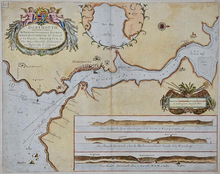 This hand-colored sea chart of the area around Dartmouth, England is from