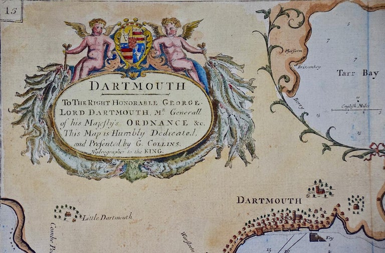 English Hand-Colored 17th Century Sea Chart of Dartmouth, England by Captain Collins For Sale
