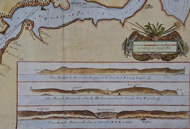 Engraved Hand-Colored 17th Century Sea Chart of Dartmouth, England by Captain Collins For Sale