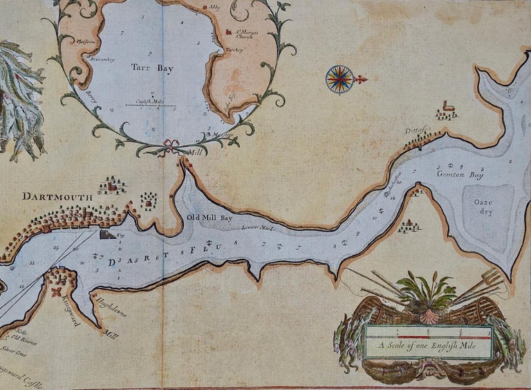 Hand-Colored 17th Century Sea Chart of Dartmouth, England by Captain Collins In Good Condition For Sale In Alamo, CA