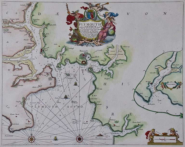This hand-colored sea chart of the area around Plymouth, England from
