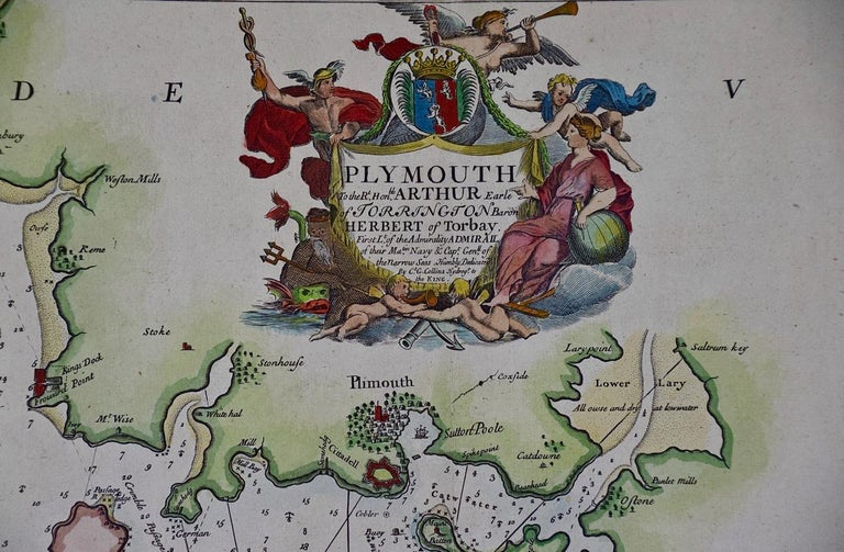 English Hand-Colored 17th Century Sea Chart of Plymouth, England by Captain Collins For Sale