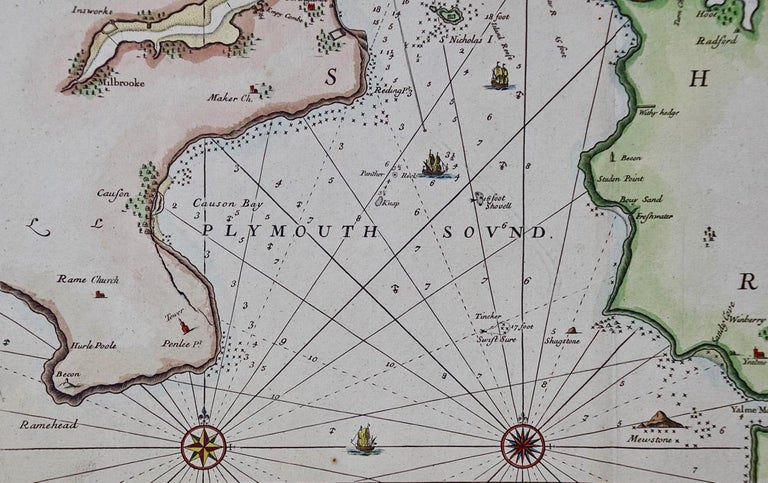 Hand-Colored 17th Century Sea Chart of Plymouth, England by Captain Collins In Good Condition For Sale In Alamo, CA