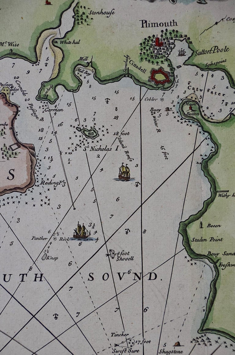 Paper Hand-Colored 17th Century Sea Chart of Plymouth, England by Captain Collins For Sale