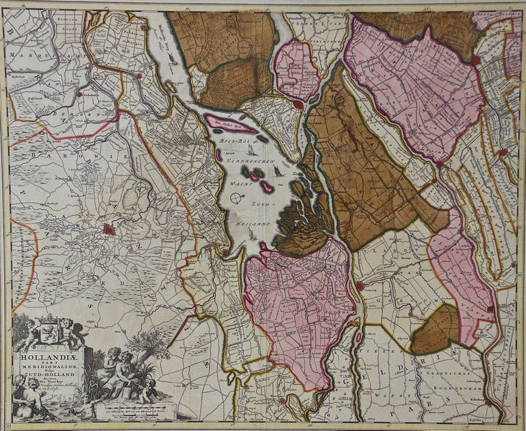 A hand colored 17th century map of the southern portions of Holland by Nicolaus (Nicolas) Visscher II entitled