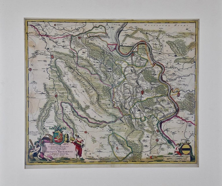 This original 18th century hand-colored map of the county of Moers, Germany entitled