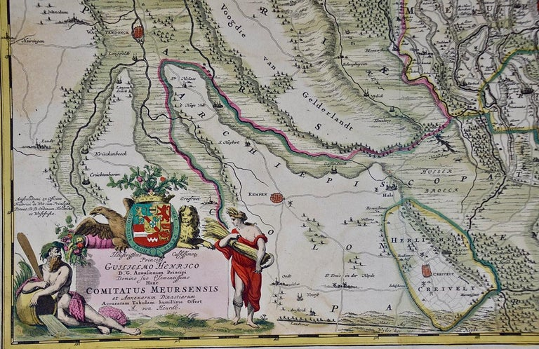 Engraved Hand-Colored 18th Century Map of Germany West of the Rhine by de Wit For Sale