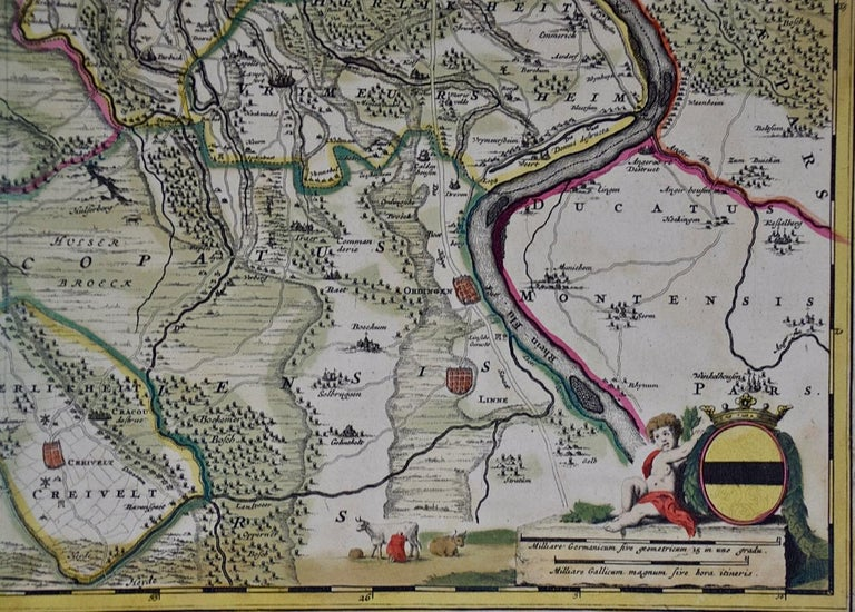 Hand-Colored 18th Century Map of Germany West of the Rhine by de Wit In Good Condition For Sale In Alamo, CA