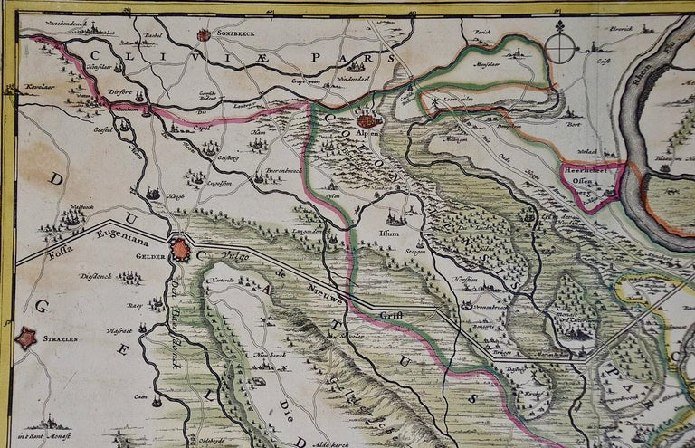 Paper Hand-Colored 18th Century Map of Germany West of the Rhine by de Wit For Sale