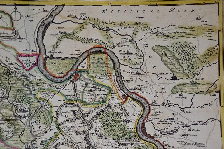 Hand-Colored 18th Century Map of Germany West of the Rhine by de Wit For Sale 1