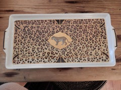 A  Hand Crafted Chase Leopard Letter Tray 1990s