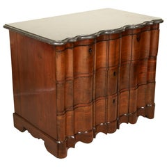 Handsome Baroque Four-Drawer Walnut Chest with Original Shaped Marble Top