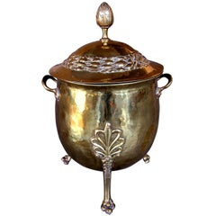 A Handsome English Neoclassical Style Brass Ovoid-Shaped Two-Handled Coal Bucket