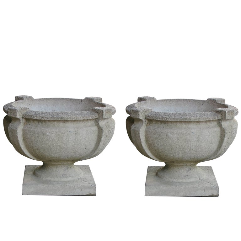 Handsome Pair of Cast Stone Garden Urns