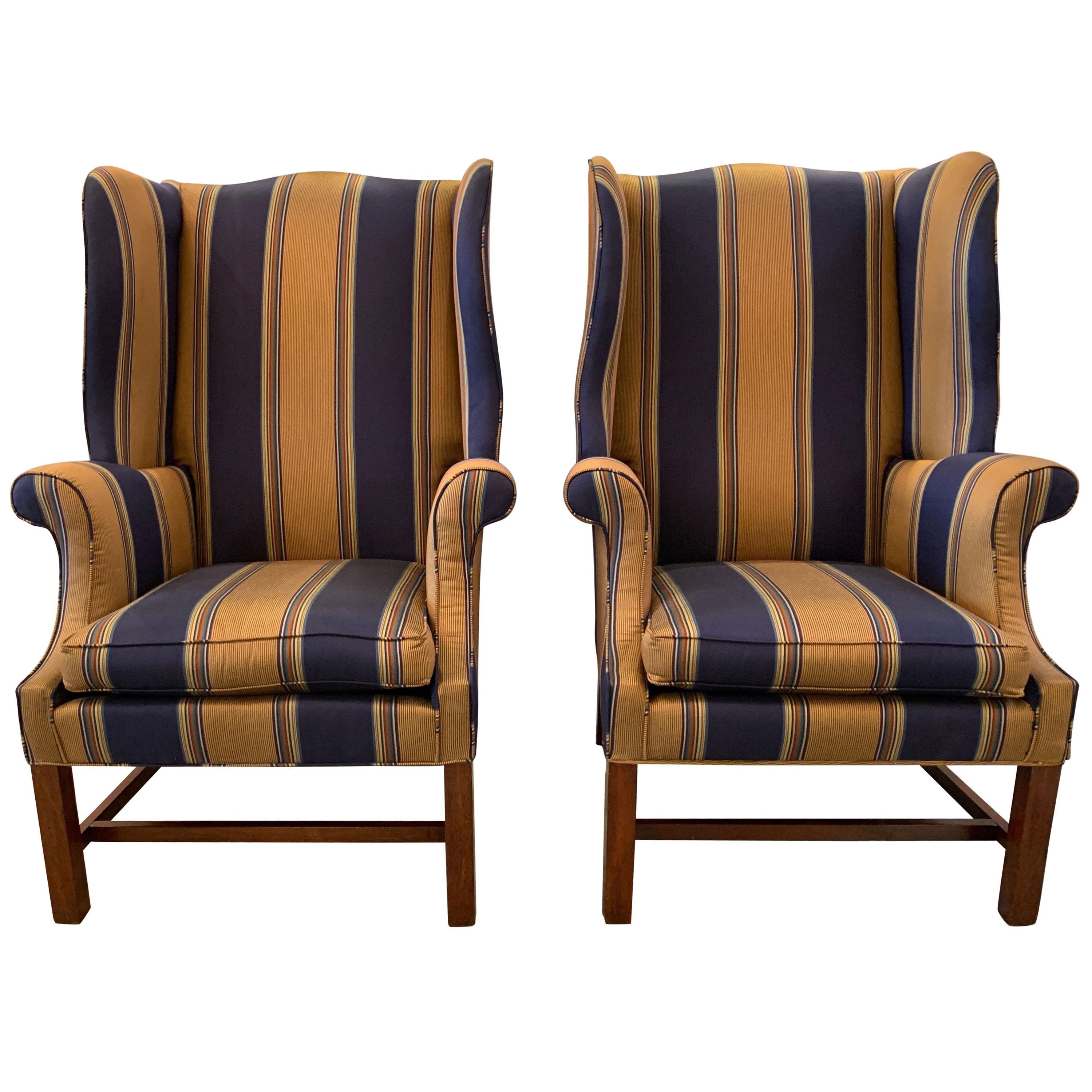Handsome Pair of Chinese Chippendale Style Wing Chairs