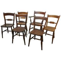 Harlequin Set of 6 Victorian Beech and Elm Rope Back Kitchen Chairs