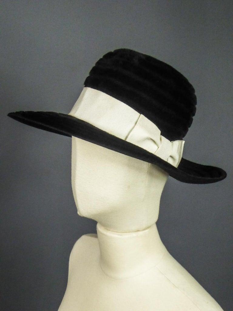 A Harrods Plush Felt Hat by Atelier Lucas - London Circa 1970  For Sale 5