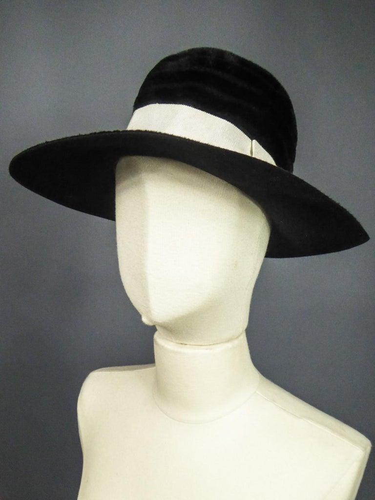 Beige A Harrods Plush Felt Hat by Atelier Lucas - London Circa 1970  For Sale