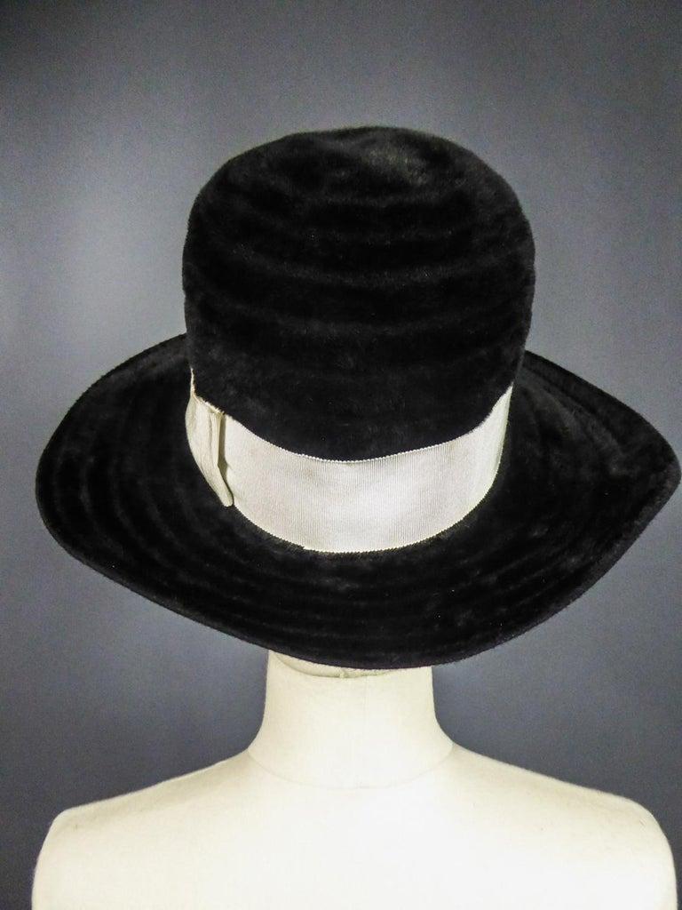 A Harrods Plush Felt Hat by Atelier Lucas - London Circa 1970  For Sale 2