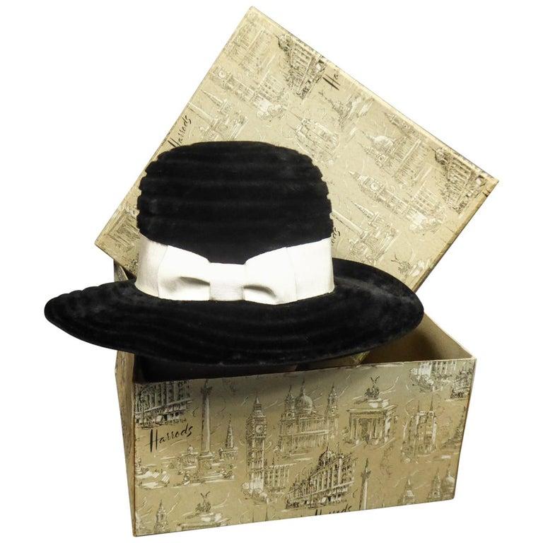 A Harrods Plush Felt Hat by Atelier Lucas - London Circa 1970  For Sale