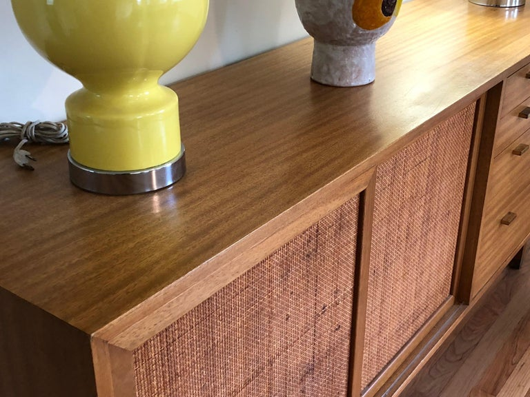 Mid-Century Modern Harvey Probber Credenza with Caned Panels For Sale