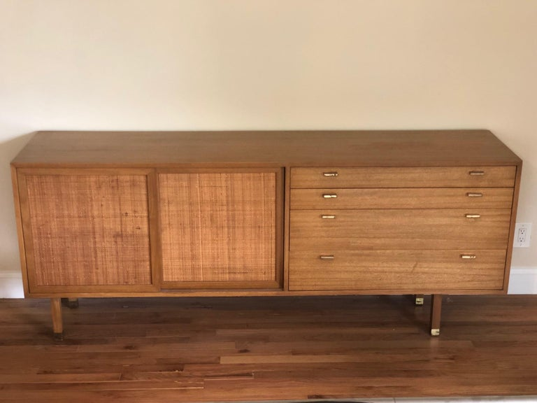American Harvey Probber Credenza with Caned Panels For Sale