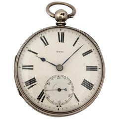 Heavy English Lever Fusee Silver Engine Turned Case Pocket Watch, circa 1866