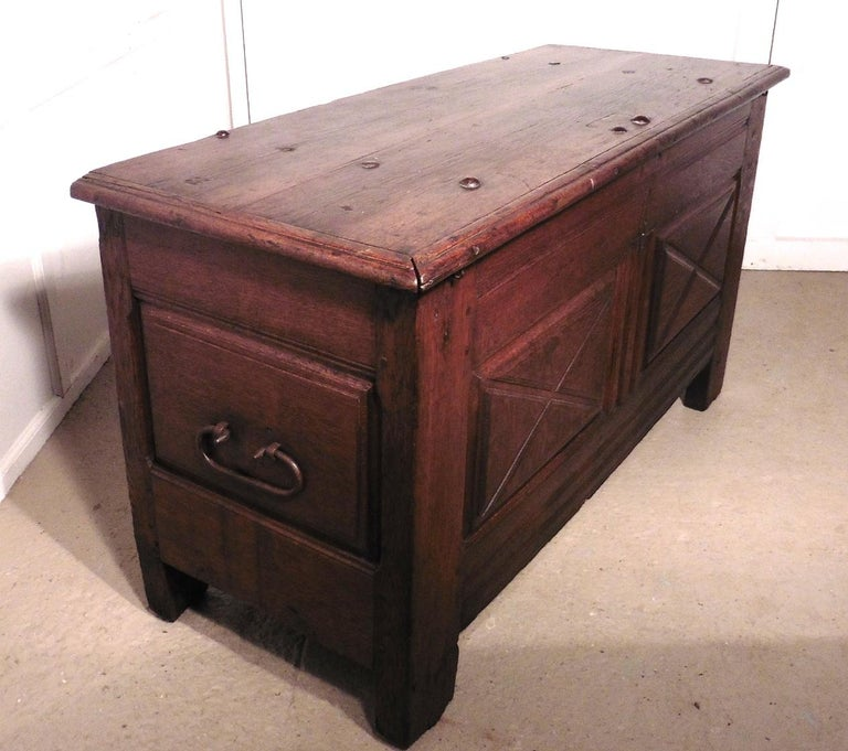 Gothic Heavy French Paneled Oak Coffer, 1800 For Sale