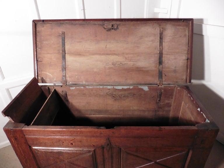 Heavy French Paneled Oak Coffer, 1800 For Sale 1