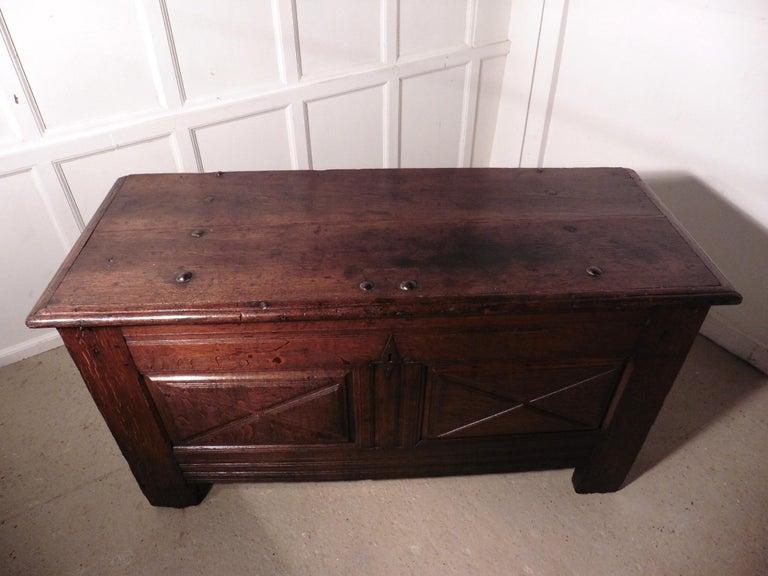 Heavy French Paneled Oak Coffer, 1800 For Sale 2
