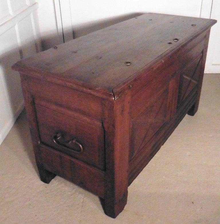Heavy French Paneled Oak Coffer, 1800 For Sale 3