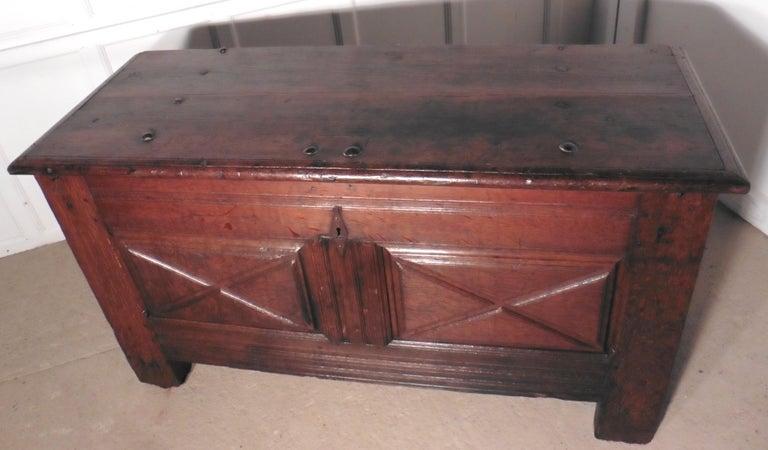 Heavy French Paneled Oak Coffer, 1800 For Sale 4