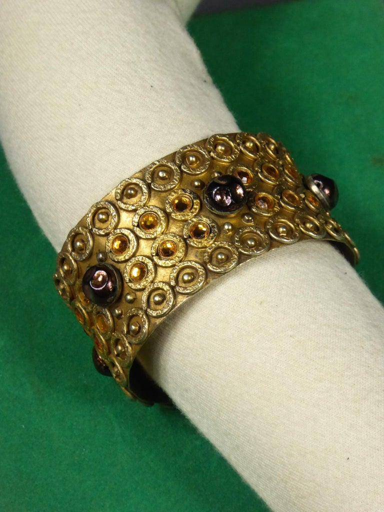 A Henry Perichon Bracelet in Brass and Pearlsfor Haute Couture Circa 1960 For Sale 5