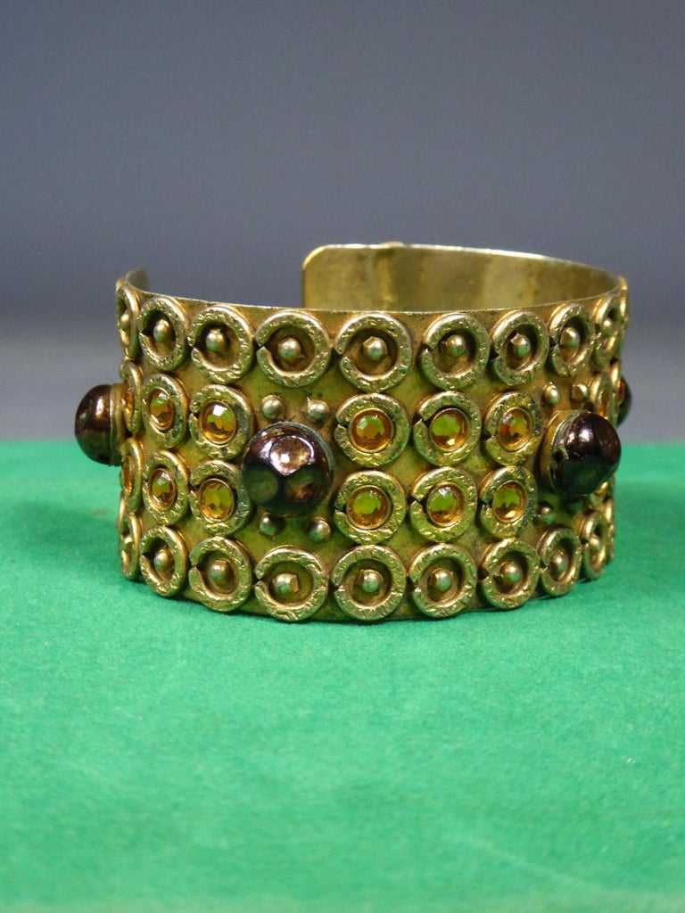 Retro A Henry Perichon Bracelet in Brass and Pearlsfor Haute Couture Circa 1960 For Sale