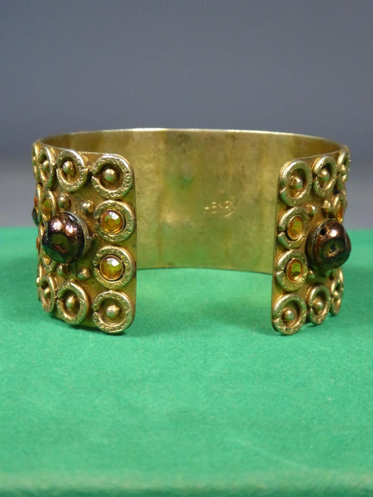 Women's A Henry Perichon Bracelet in Brass and Pearlsfor Haute Couture Circa 1960 For Sale