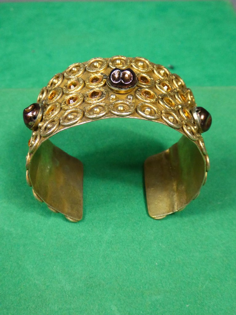 A Henry Perichon Bracelet in Brass and Pearlsfor Haute Couture Circa 1960 For Sale 2