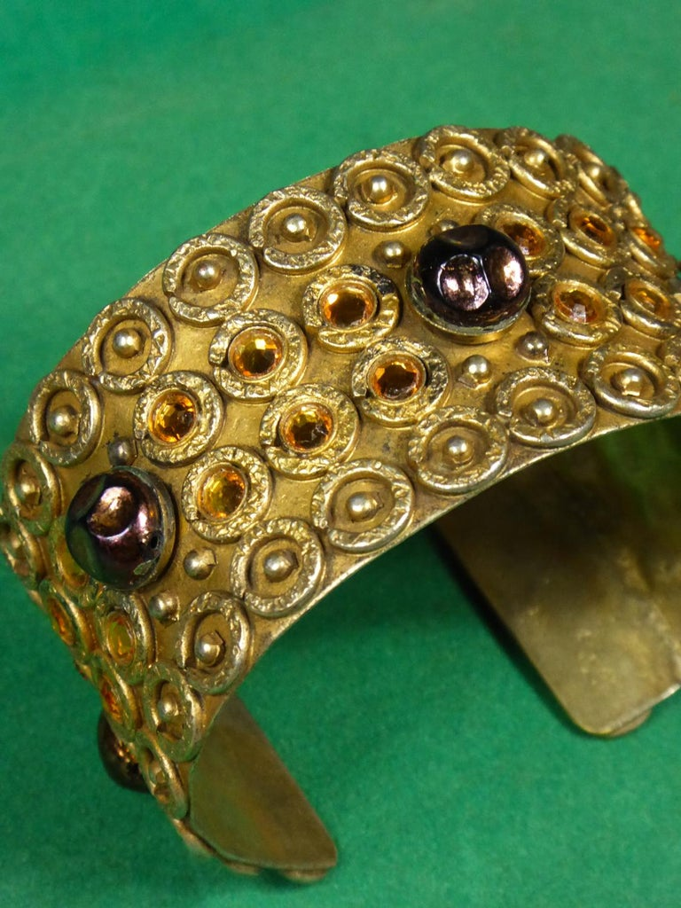 A Henry Perichon Bracelet in Brass and Pearlsfor Haute Couture Circa 1960 For Sale 4