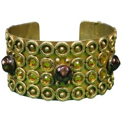 A Henry Perichon Bracelet in Brass and Pearlsfor Haute Couture Circa 1960