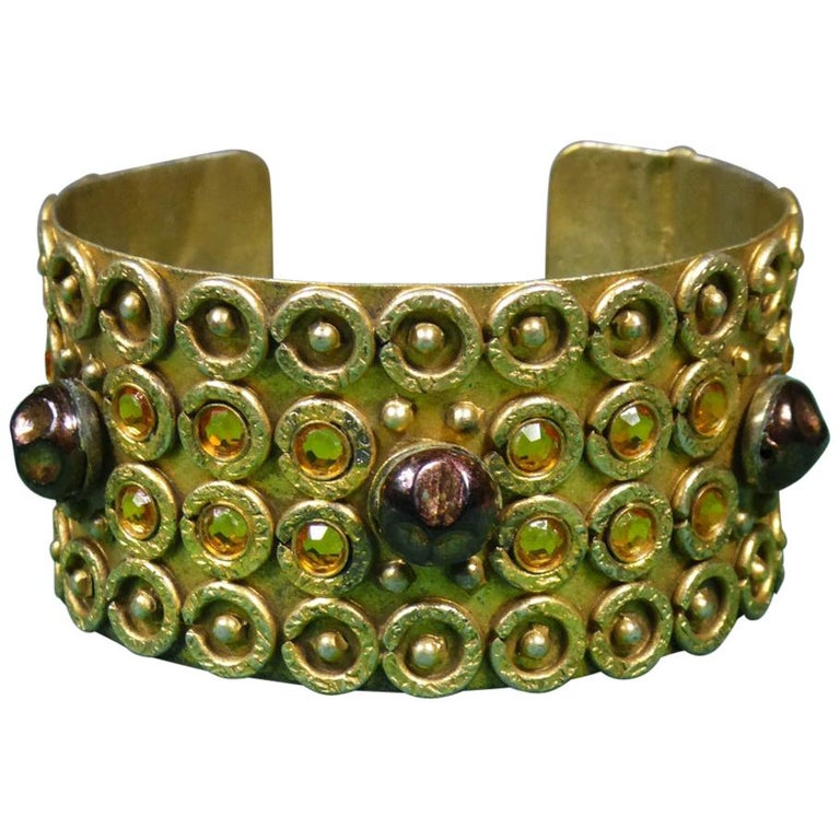 A Henry Perichon Bracelet in Brass and Pearls for Haute Couture Circa 1960 For Sale