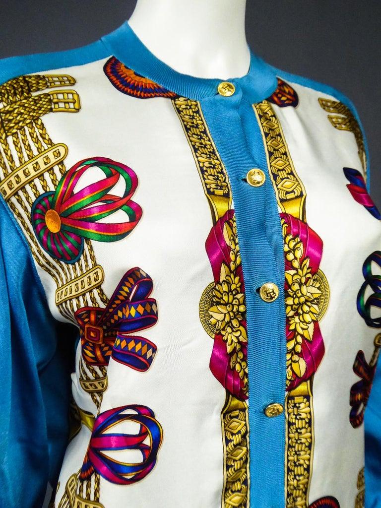 A Hermès Cardigan Jacket in Silk Knit and Silk Print - France Circa 2000 For Sale 6