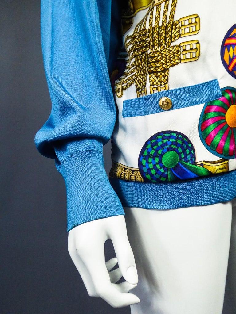 A Hermès Cardigan Jacket in Silk Knit and Silk Print - France Circa 2000 For Sale 7