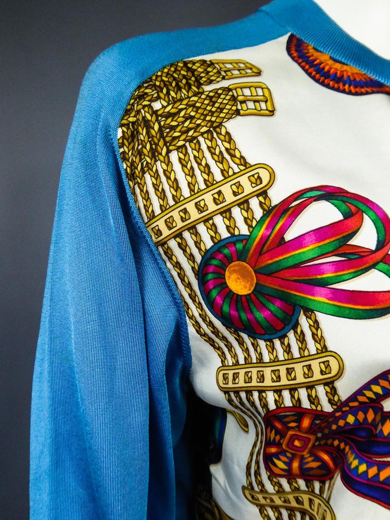 A Hermès Cardigan Jacket in Silk Knit and Silk Print - France Circa 2000 For Sale 8