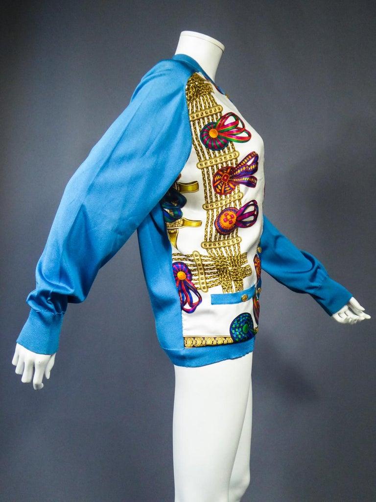 A Hermès Cardigan Jacket in Silk Knit and Silk Print - France Circa 2000 For Sale 9