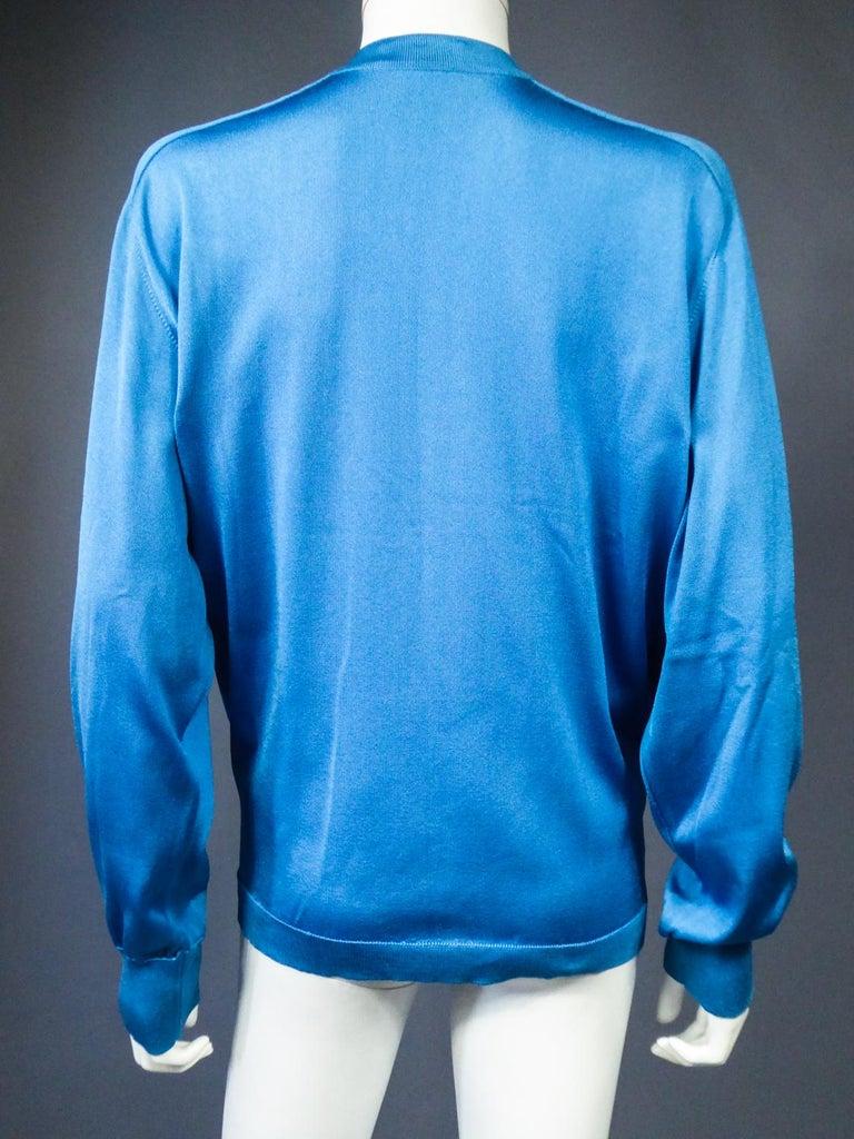 A Hermès Cardigan Jacket in Silk Knit and Silk Print - France Circa 2000 For Sale 10