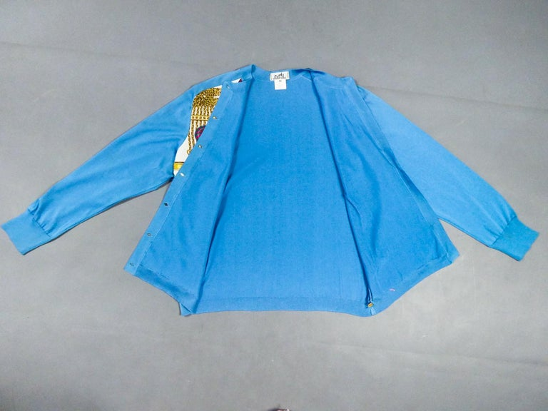 Women's A Hermès Cardigan Jacket in Silk Knit and Silk Print - France Circa 2000 For Sale
