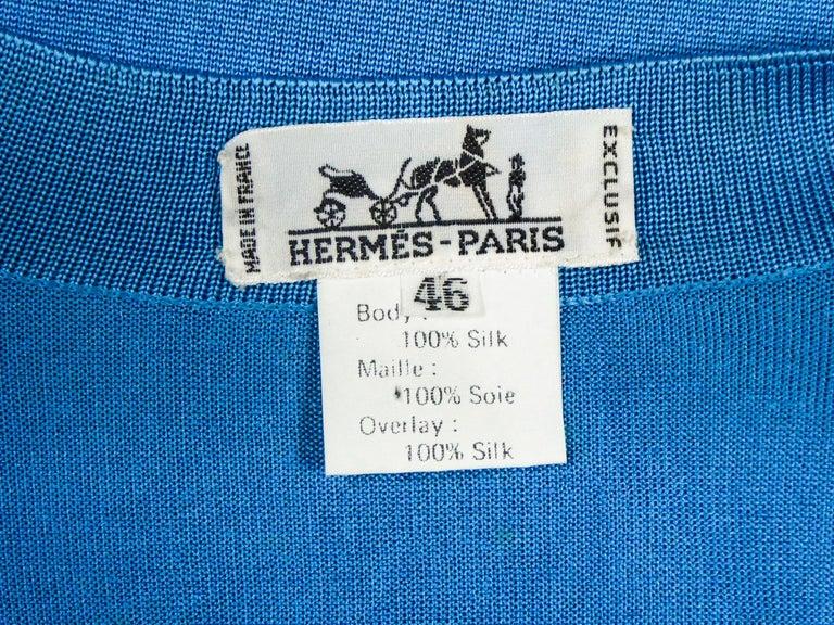 A Hermès Cardigan Jacket in Silk Knit and Silk Print - France Circa 2000 For Sale 1