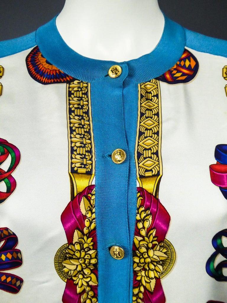 A Hermès Cardigan Jacket in Silk Knit and Silk Print - France Circa 2000 For Sale 2