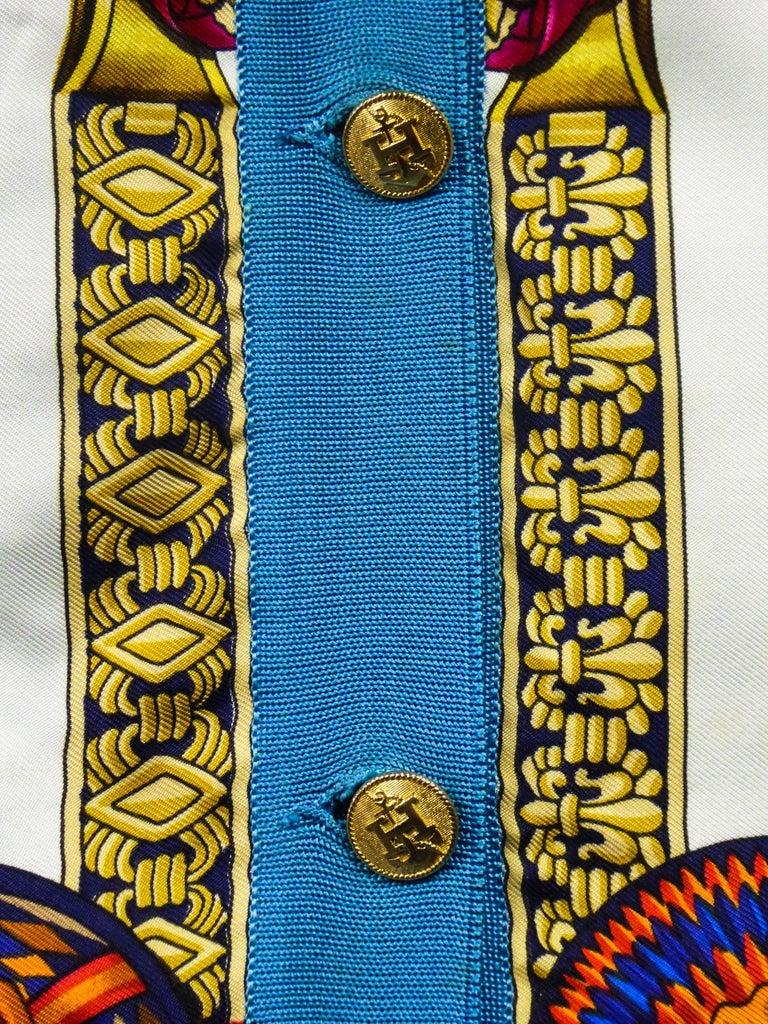 A Hermès Cardigan Jacket in Silk Knit and Silk Print - France Circa 2000 For Sale 4