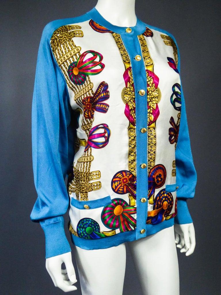 A Hermès Cardigan Jacket in Silk Knit and Silk Print - France Circa 2000 For Sale 5